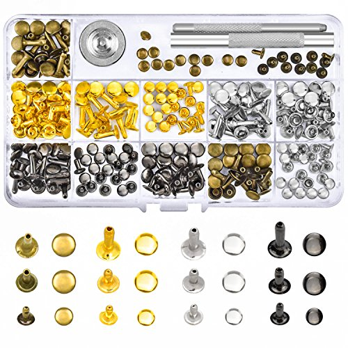 WXJ13 4 Colors Leather Rivets Metal Cap Rivets Single Cap Rivets with 3 Pieces Tool kits for Rivets Replacement, Leather Decoration, 3 Sizes (Total 144 Sets)
