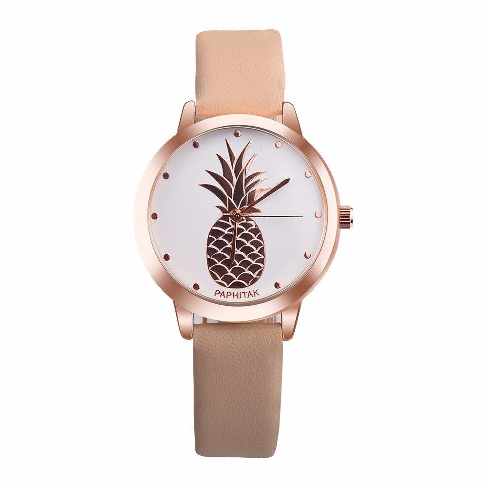 JiaMeng Classic Reloj Reloj de Cuarzo Analógico de Cuarzo de imitación de Cuero de piña para Mujer(Blanco): Amazon.es: Ropa y accesorios