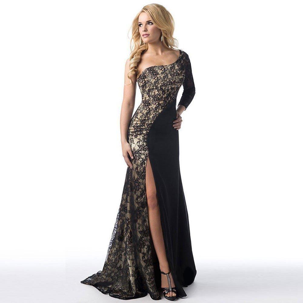 VJGOAL Las Mujeres Forman Sexy Oblicua Hombro Alta Raja Formal de la Boda de Dama de Honor cóctel Exquisita Costura de Encaje Vestido de Longitud: ...