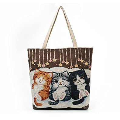 9e2c3f6d8 Amazon.com: Aelicy Luxury Women Canvas Cat Printed Canvas Tote Casual Beach  Bags Women Shopping Bag Handbags Large Capacity Ladies Bolsas Color B: Shoes