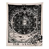 Muses Boutique Tarot Star Tapestry Black and White Wall Hanging Bohemian Hippie Ethnic Wall Art Boho Hippy Queen Bedspread Dorm Decor Yoga Mat Beach Rugs Towel Meditation Tapestries (Star)