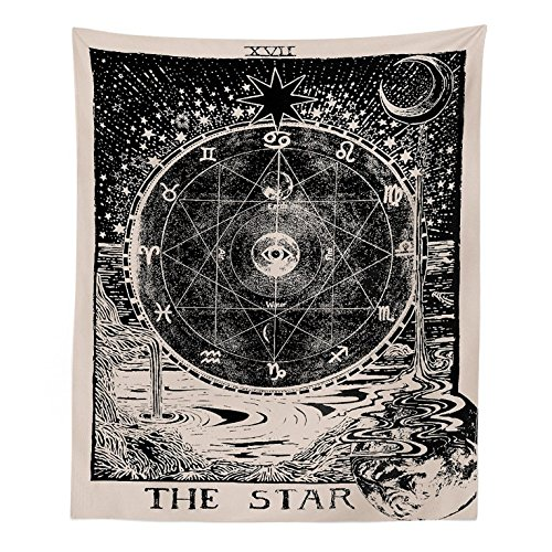 Muses Boutique Tarot Star Tapestry Black and White Wall Hanging Bohemian Hippie Ethnic Wall Art Boho Hippy Queen Bedspread Dorm Decor Yoga Mat Beach Rugs Towel Meditation Tapestries (Star) by Muses Boutique