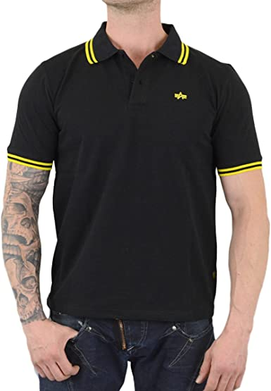 Alpha Industries - Polo - para Hombre Negro Amarillo Negro: Amazon ...