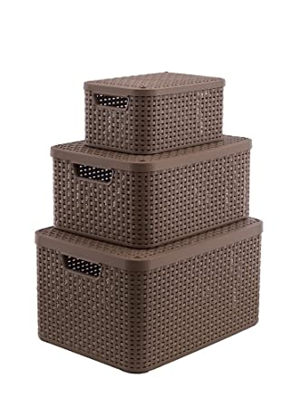 Curver Storage Box With Lid Plastic S M L Pack Of 3 30 L 18