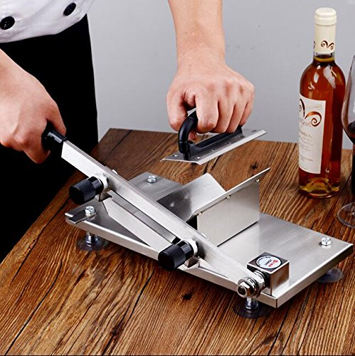 CGOLDENWALL Household Stainless Steel Meat Slicer Manual Frozen Beef Mutton Slicing Machine Vegetable Meat Cutter for Hot Pot BBQ Thickness Adjustable 0.5mm-25mm by CGOLDENWALL (Image #4)