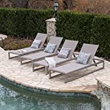 San LuisOutdoor Grey Mesh Chaise Lounge with Silver Finished Aluminum Frame (Set of 4) For Sale