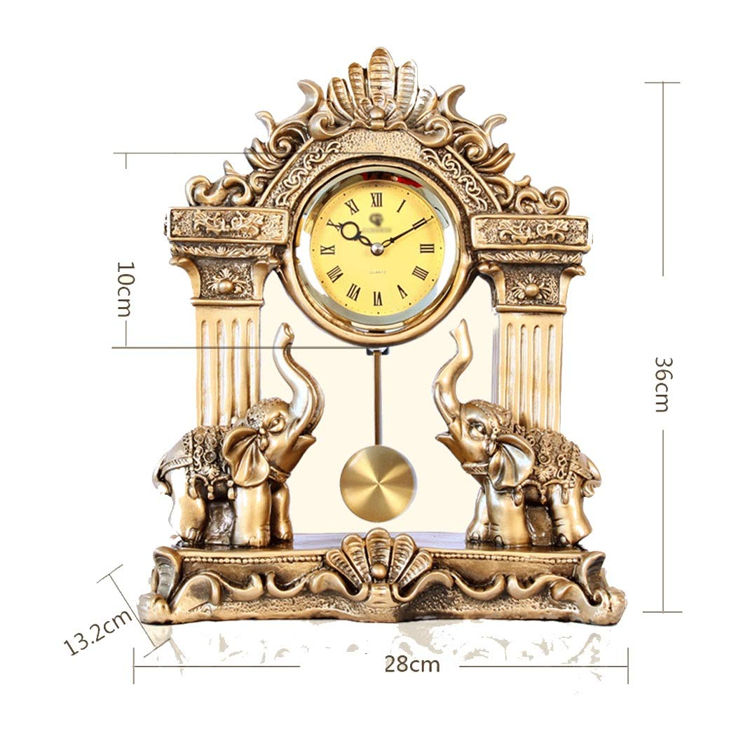 HONGNA European Mute Resin Clock Clock Lucky Town House Elephant Pendulum Clock Retro Quartz Table Clock Living Room Creative Desktop Decoration Clock (Color : B) by HONGNA (Image #2)
