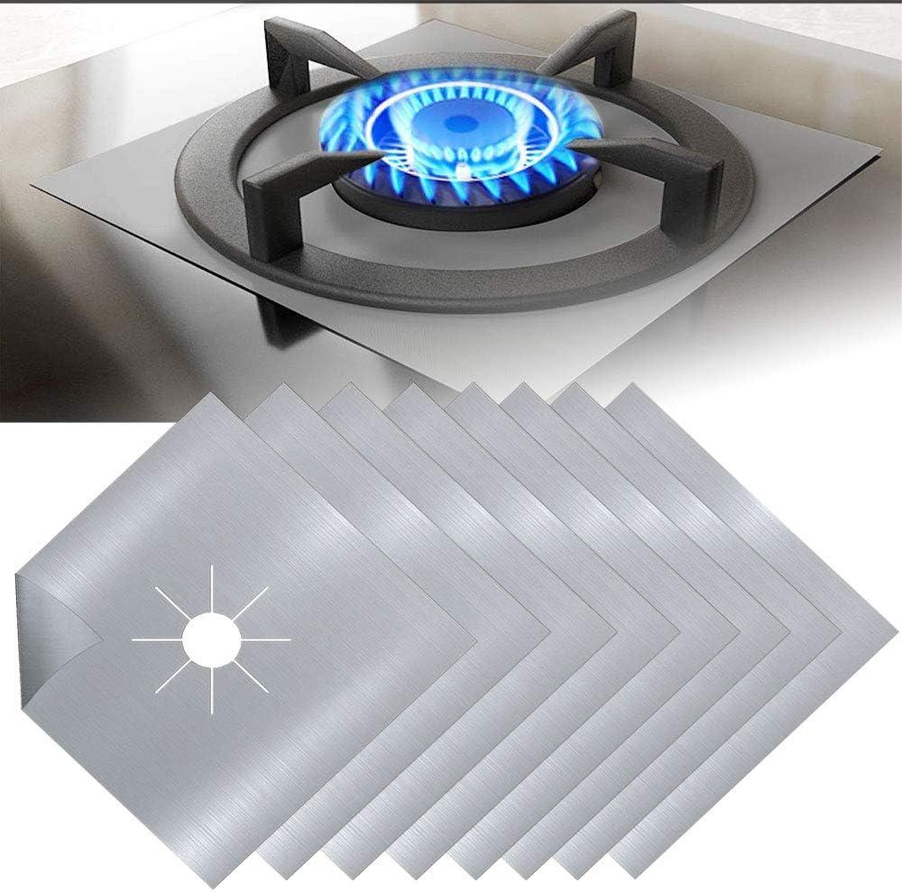 EMAGEREN 8pcs Protectores para Cocinas de Gas Protectores Antiadherentes Estufa a Gas Fundas para Quemador de Gas Protectoras para Hornillos de Gas Protectoras Reutilizables de Gas, Plata 27x27cm