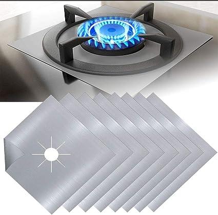 EMAGEREN 8pcs Protectores para Cocinas de Gas Protectores Antiadherentes Estufa a Gas Fundas para Quemador de Gas Protectoras para Hornillos de Gas ...