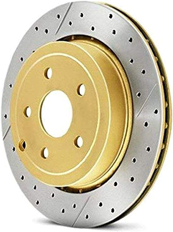 Front, Vented Cross-Drilled and Slotted DBA DBA421X Street Series Gold Disc Brake Rotor