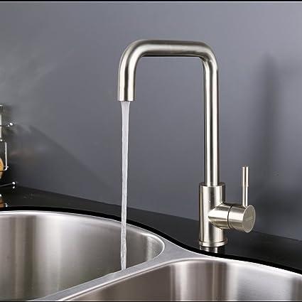 KINSE® Rubinetto con miscelatore stile moderno, con bocca di erogazione alta, per lavello cucina o bagno