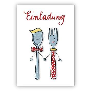 Süsse Einladung Zum Essen Mit Herrn Und Frau Löffel Und Gabel