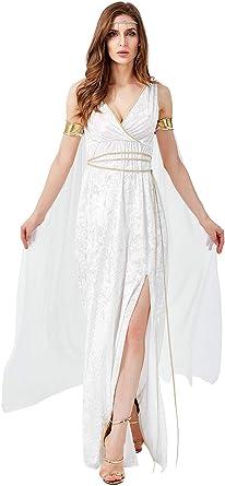 Disfraz De Mujer Griego Elegante con Cuello En V Sin Mangas Side ...