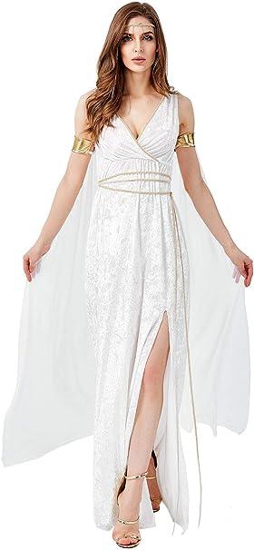 Mujer Halloween Vestido de Diosa Griega Disfraz de Atenea Cuello V ...