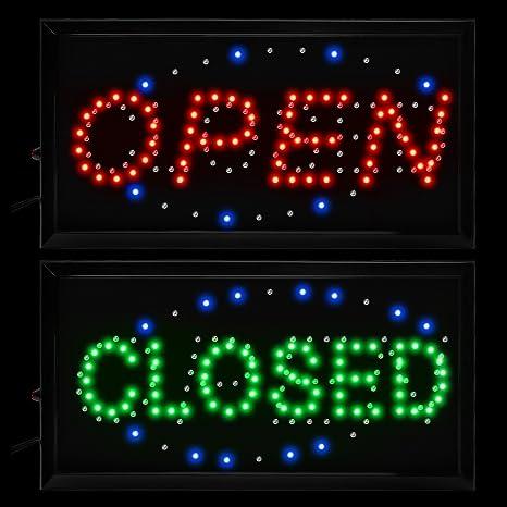 Amazon.com: Boshen 2 en 1 Open Close Neon Signs intermitente ...