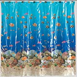 Clear Vinyl Fish Shower Curtain Carnation Home Fashions 6-Feet by 6-Feet Vinyl Print Shower Curtain, Sealife