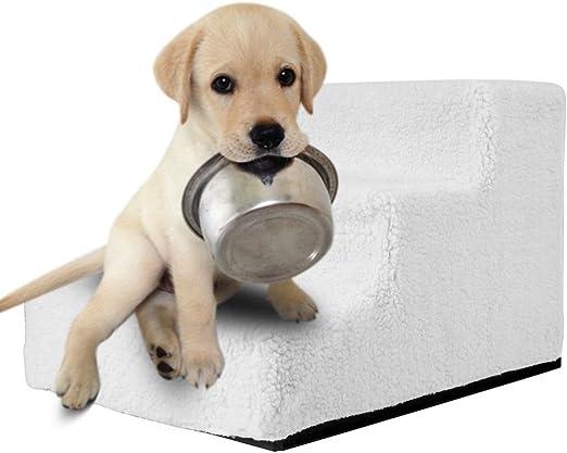 femor Perros Animales Escalera Escaleras lavable con cubierta de peluche perro gato Aufstieg ayuda Easy Step Perros Escaleras 46 x 35 x 30 cm blanco/beige: Amazon.es: Productos para mascotas