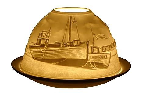 Light-Glow Swans Lithophane Dome Tealight Candle Holder