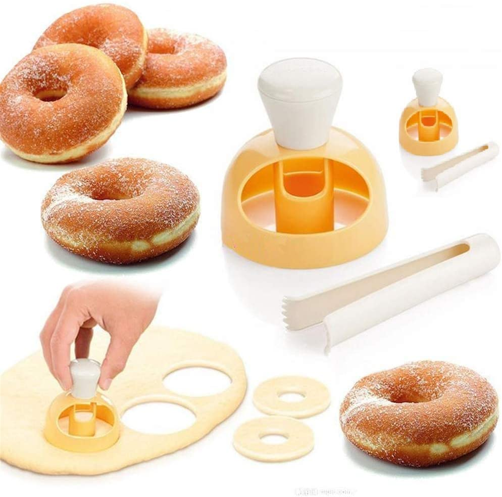 2 Pack Donut Cutters Set 3 inch,Cookie Cutter Round for Baking Donut Mould Maker Plastic with Dipping Plier, Cake Mold Biscuit Cutter Non-Stick Mold Baking DIY Donut Tools