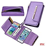 Wallet Case for iPhone 5C, xhorizon TM SR [Upgraded] 2 in 1 Premium Bling Leather Wallet Rhinestone Button Closure Magnetic Car Mount Phone Holder Compatible Folio Case for iPhone 5C - Purple