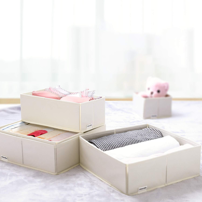 Homfa Bo/îte de Rangement 6 Pi/èces Organisateur Pliable Tiroirs Paniers pour V/êtements en Tissu Blanc