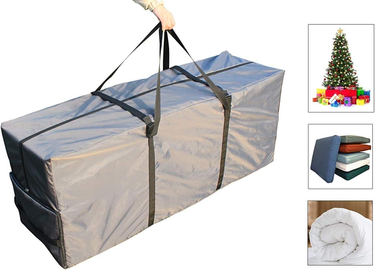 Laxllent Bolso Cojín,Bolsa de Almacenamiento para Cojines o Fundas de Jardín, Impermeable Protección UV,Bolsa de arbol de Navidad,135x40x55cm,Gris