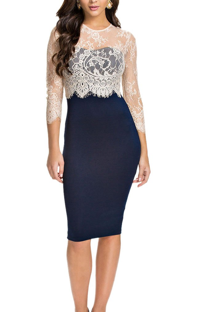 LECHEERS Women Lace Vintage Celeb Bodycon Cocktail Formal Evening Blue Dres S