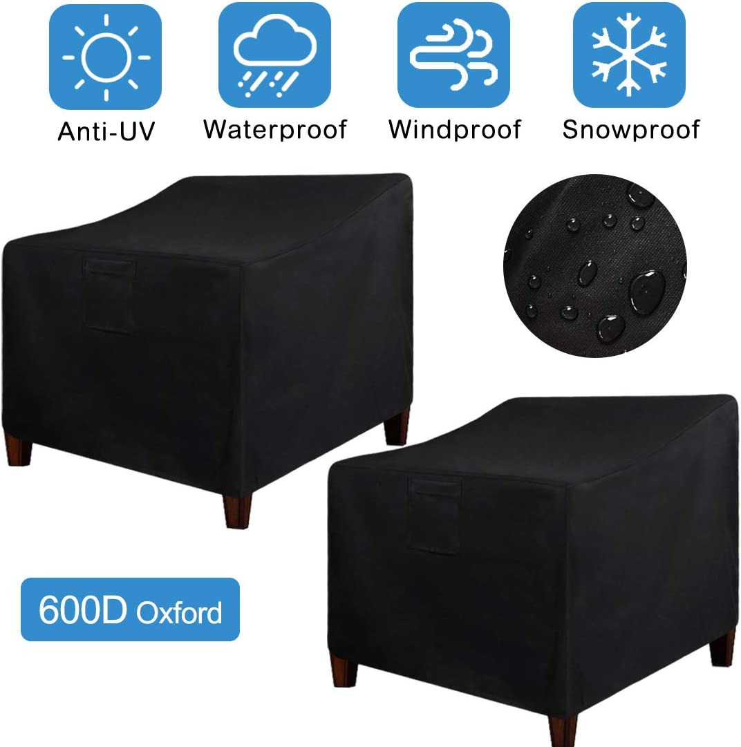"""LadyRosian Patio Chair Covers, Lounge Deep Seat Cover, 600D Oxford Waterproof Durable Heavy Duty Outdoor All-Weather Protection Furniture Chair Covers (2-Pack) (35"""" x 38"""" x 31"""", 2 Pack, Black)"""