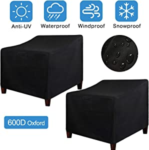 "LadyRosian Patio Chair Covers, Lounge Deep Seat Cover, 600D Oxford Waterproof Durable Heavy Duty Outdoor All-Weather Protection Furniture Chair Covers (2-Pack) (35"" x 38"" x 31"", 2 Pack, Black)"