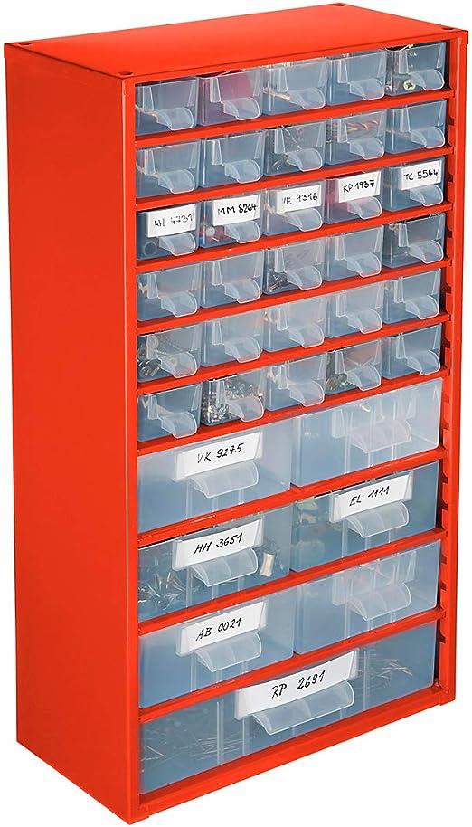 SENATOR Kleinteilemagazin 551 x 306 x 155 mm mit 36 transparenten Kunststoffschubladen Stahl blau Lagerschrank