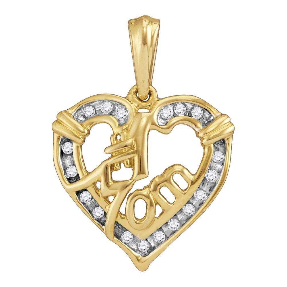 Yellow-tone Sterling Silver Round Diamond Mom Mother Pendant 0.11 Cttw