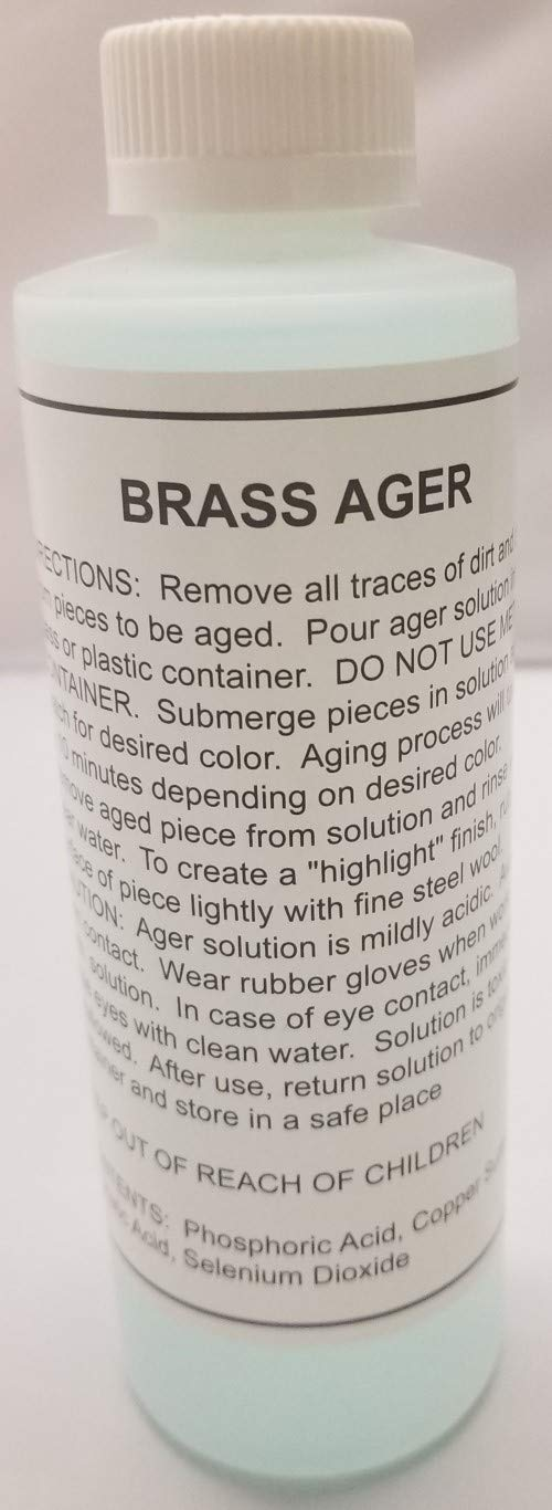 8oz. (Ounce) - Brass Ager Darkening Solution antique vintage old metal patina copper tin bronze dull