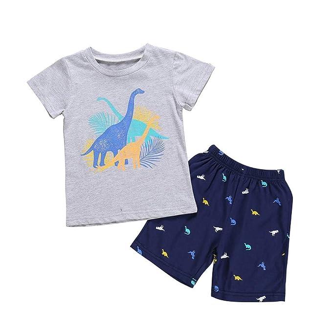 3e8d52f05 Soupliebe Conjuntos Bebe Niño Verano Reborn Bebes niño Trajes Ropa  Estampado de Dibujos Animados Camiseta Tops