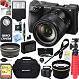 Sony ILCE-6500 a6500 4K Mirrorless Camera with 16-70mm Mid-Range Zoom Lens + 64GB SDXC Memory Card + 0.43x Wide Angle + 2.2x Telephoto Lens Converter + Carrying Case + Memory Card Reader + Tripod+More