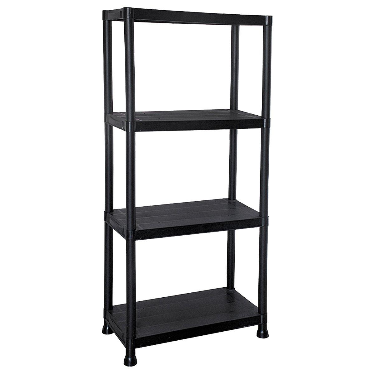 2x 4 Tier Black Plastic Shelving Unit Storage Shelves Garage Shop Warehouse Shed Marko