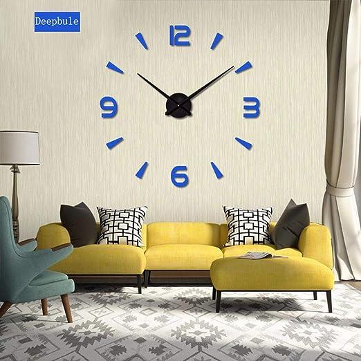 TONGSS DIY Gran Cuarzo Acrílico Espejo Reloj De Pared Y Moda Arte ...