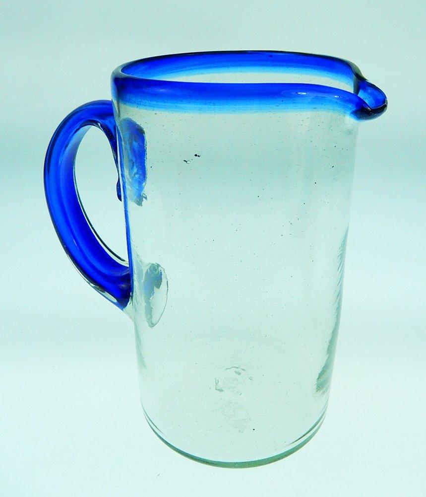 Mexican Glass Margarita or Juice Pitcher, Blue Rim, Straight 1.75 Quarts 56 oz.