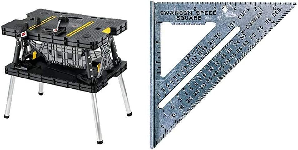 Keter Folding Table Work Bench for Miter Saw Stand, Woodworking Tools and Accessories with Included 12 Inch Wood Clamps – Easy Garage Storage & Swanson Tool Co S0101 7 Inch Speed Square Tile