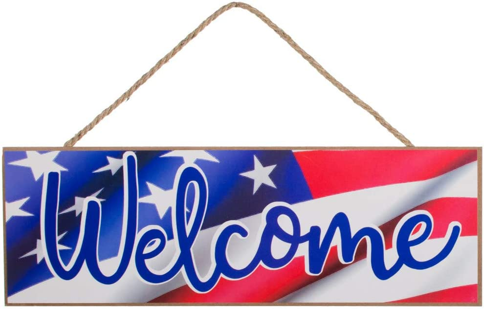 """GiftWrap Etc. Veterans Day Patriotic Welcome Sign - 15"""" x 5"""", American Flag Decoration, Front Door Decor, Memorial Day, 4th of July, Red, White Blue, USA"""