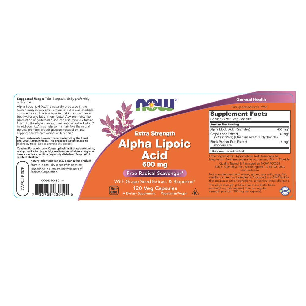 NOW Foods Alpha Lipoic Acid 600mg, 120 Vcaps: Amazon.es: Salud y cuidado personal