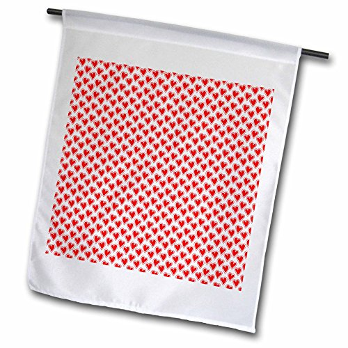 3dRose Anne Marie Baugh - Hearts and Valentines - Cute Red and White Outlined Hearts Pattern - 18 x 27 inch Garden Flag (fl_269289_2)