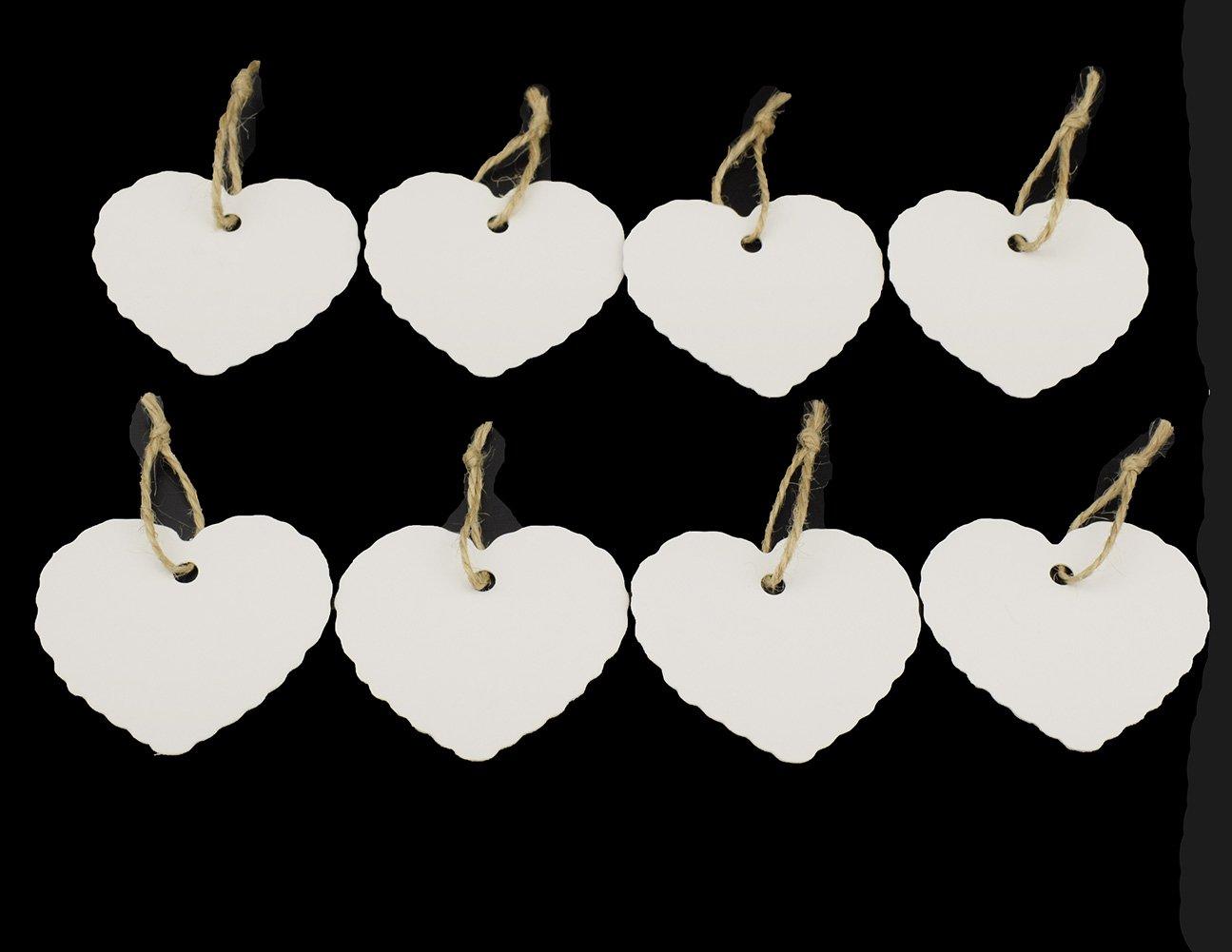 Tomkity 100 Pezzi Etichette di Carta Targhette per Regali Cartellini per Matrimonio a Forma di Cuore con Iuta Spago