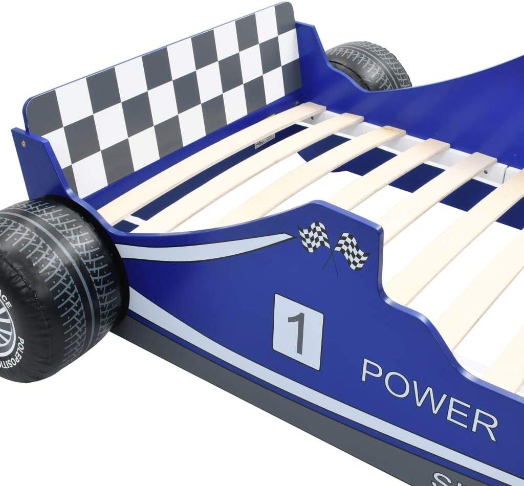 Holz-Lattenrost mewmewcat Kinderbett Autobett Rennwagen-Design ohne Matratze 90x200 cm Rennbett Kinderm/öbel Jugendbett Bettgestell Blau MDF-Rahmen