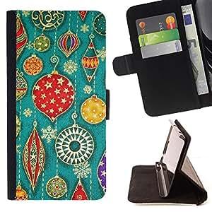 - VINTAGE RETRO CHRISTMAS ART DECORATIONS TREE - - Prima caja de la PU billetera de cuero con ranuras para tarjetas, efectivo desmontable correa para l Funny HouseFOR Sony Xperia Z1 L39