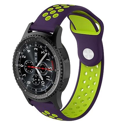 Malloom Impermeable Ligero ventilar Silicona Pulsera Correa de muñeca para Samsung Gear S3 Frontier Smartwatch