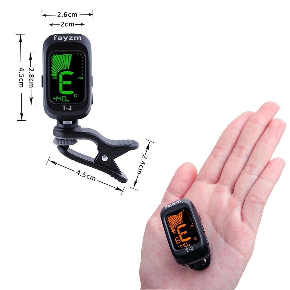 Batterie Incluse Rayzm Accordeur /Électrique /à Pince Portable avec Modes Daccord Chromatiques pour Guitare // Basse // Ukul/él/é // Violon Pr/écis et R/éactif. Ajustable sur 430-450HZ