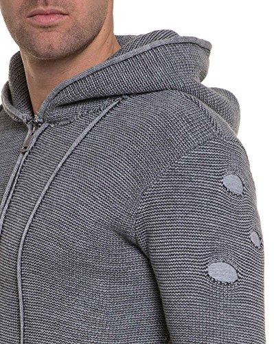 BLZ jeans - Cardigan homme gris clair grosse maille troué - couleur  Gris -  taille  L XL  Amazon.fr  Vêtements et accessoires ad806abd14fe