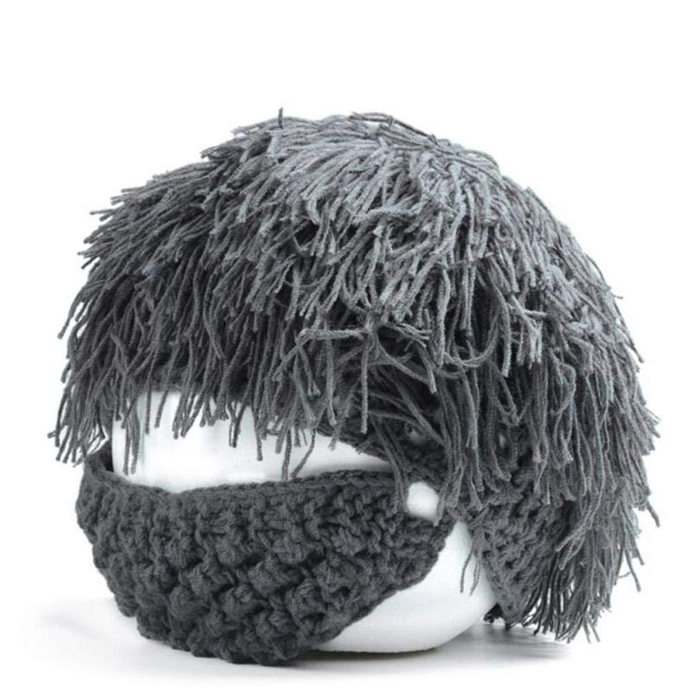 Creativo cappello a maglia barba, UMIWE divertente uomo donna parrucca barba beanie cappello handmade caldo inverno maschera da sci barbaro costume puntelli partito cosplay caps