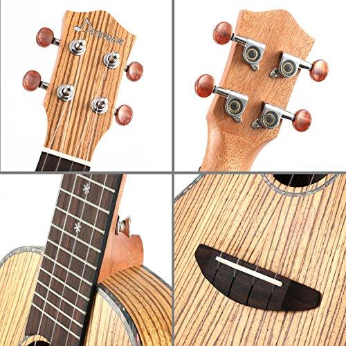 Donner Zebrawood Ukulele Concert DUC-2 23 inch Ukulele Kit with Case Tuner Strap Nylon String - Image 6