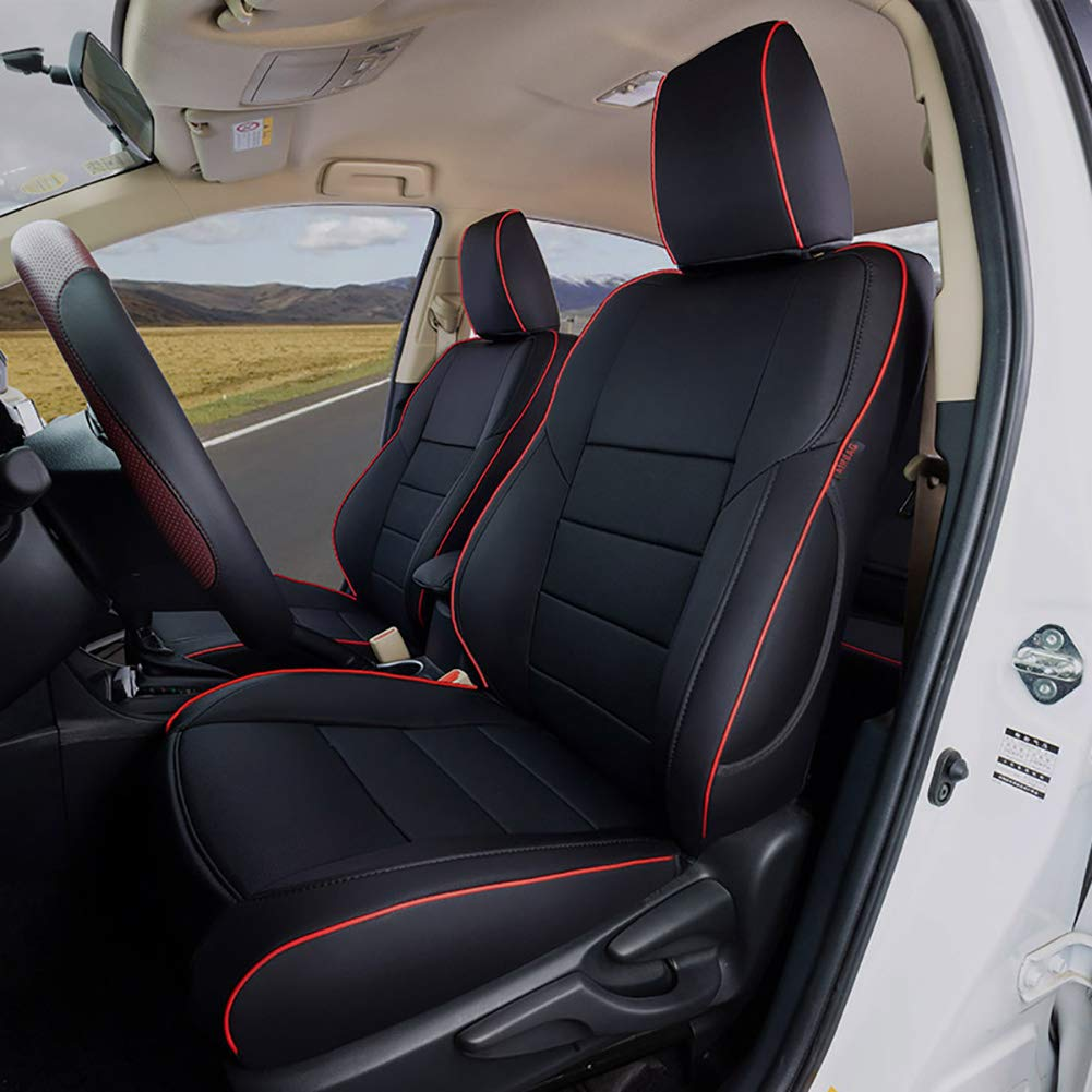 Lingyue Leatherette Custom Fit Car Seat Cover Full Set,Front&Rear Seat Cover for 2013 2014 2015 2016 2017 2018 RAV4 LE (NOT for EV or Hybrid), Airbag Compatible, Black with Red Lining